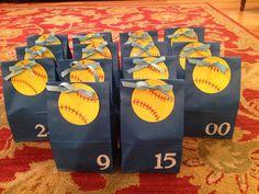 Softball goodie bags for the team! Change softball to basketball. Softball Goodie Bags, Softball Treats, Softball Team Gifts, Baseball Treats, Softball Tournaments, Softball Party, Softball Players, Girls Softball, Goody Bags