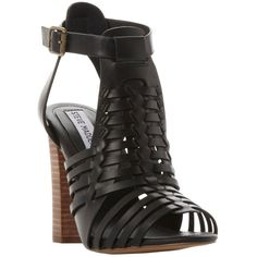 Steve Madden Sandrina Block Heeled Weave Sandals , Black Leather ($115) ❤ liked on Polyvore featuring shoes, sandals, black leather, high heel sandals, block heel shoes, steve madden sandals, black flat sandals and flat sandals