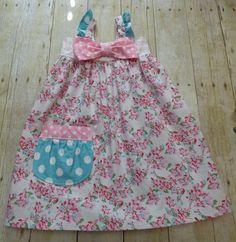 Little girls Hattie dress jumper pink floral by EmelineDesign on Etsy