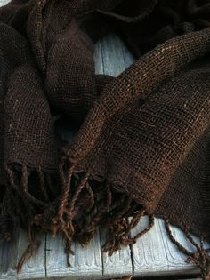 Chocolate brown handwoven cotton scarf with natural dye and handspun cotton yarn.  http://www.etsy.com/listing/108441132/chocolate-brown-handwoven-cotton-scarf