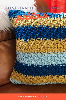 Make this Tunisian Honeycomb pillow for your home. Pattern and tutorial by Vickie Howell.