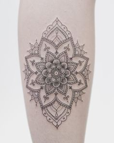 Delicate mandala on her calf. If you dig fine lines and dot shading you need to…