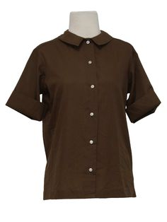 Late 50s -Missing Label- Womens chocolate brown button front cotton blend button front shirt with rounded thin tip fold over collar, darted bust and pre-cuffed short sleeves.