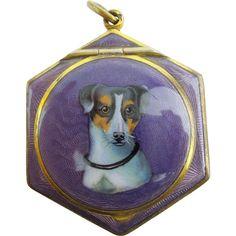 "Antique Purple Enamel ""Jack Russell Dog"" Compact w/ Original Puff."