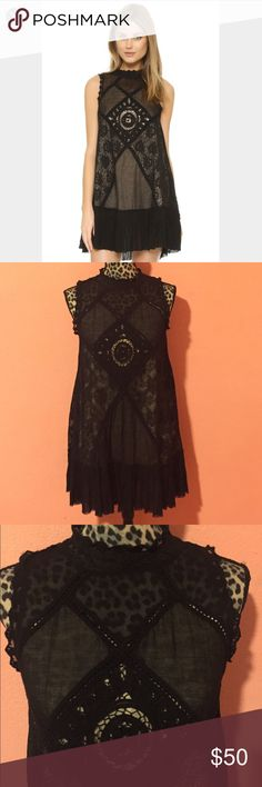 FREE PEOPLE Black Angel Lace Crochet Dress S •  FREE PEOPLE Angel Lace Dress in size Small. • Dress is made of 100% Cotton. • Delicate crochet dresswith ruffle trim. Mockneck. Sleeveless. Open back detail. Buttoned back closure. • Gently used and pre-owned, dress is a mint condition(no holes, smells, or stains).  • Measurements (taken laying flat): Bust 17 Waist 20 Dress Length: 30 • If you have any questions feel free to ask! Please check out my other listings for more great deals! Free…