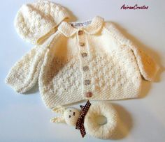 Hand knitted organic ecofriendly baby jacket and by AniramCreates, £45.99