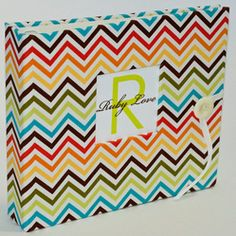 NEUTRAL Modern Baby Memory Book . Rainbow Chevron Stripes Album  Price:$60.00  Everything #Chevron - #Baby & #Kid #Fashion, #Nursery #Decorating Ideas, #DIY and more