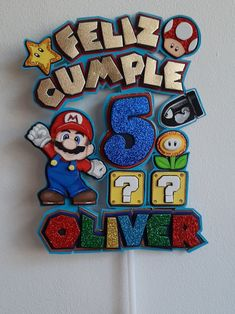 Cricut Cake, Super Mario Birthday, Mickey Mouse Birthday, Cake Toppers, Party Themes, Banner, Pastel, Projects, Cards