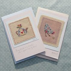 Two hand-stitched cards Chicken Toys, Applique, Fabric Cards, Thread Art, Scrapbook Cards, Scrapbooking, Machine Embroidery, Embroidery Ideas, Card Tags