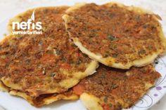 En Kolay Lahmacun (Hamur Yoğrulmadan) Tarifi Pizza, Iftar, Turkish Recipes, Hummus, Salsa, Food And Drink, Breakfast, Foods, Crafts
