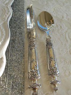 beautiful, ornate silver plated flatware