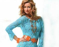 Blue Crocheted dress, made to order, crochet handmade, spring dress, summer dress, lace dress, bridal gown, Dress crochet, wedding gown