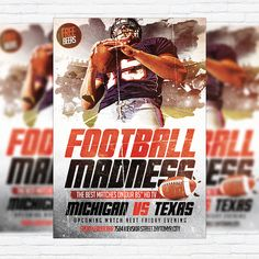 Football Madness - Premium Flyer Template + Facebook Cover http://exclusiveflyer.net/product/football-madness-premium-flyer-template-facebook-cover/