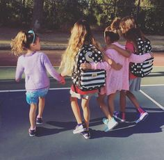 The girls and their friends on the 1st day of 2nd grade