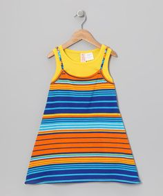 Take a look at this Yellow Stripe Layered Dress - Toddler & Girls by Chillipop on #zulily today!