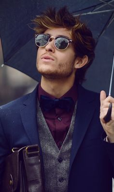 Blue, Grey, Deep Purple - a palette of colors that work well together in this gentlemen's ensemble. Vintage style sunglasses nice touch. #fashion // #men // #mensfashion