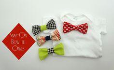 DIY snap on interchangeable bow tie onsies
