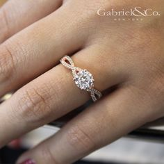 Gabriel & Co.-Voted #1 Most Preferred Fine Jewelry and Bridal Brand. 14k Rose Gold Round Twisted Engagement Ring