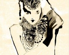 Acuarela moda impresión del arte de la por studiodelafosse en Etsy