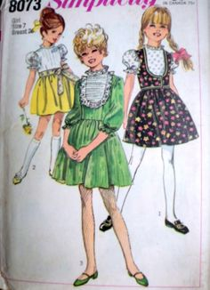 Vintage 60's Simplicity 8073 Sewing Pattern Girls Dress And Vest Size 7 26 Breast Uncut FF retro 1960's Kids Fashion