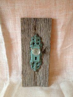shabby chic coat rack towel hook reclaimed wood turquoise hanger $22