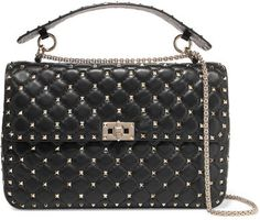Valentino Garavani The Rockstud Spike Medium Quilted Leather Shoulder Bag - Gray Valentino DHd4R