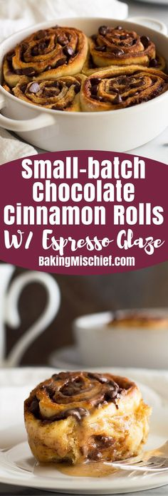 Small-batch Chocolate Cinnamon Rolls with Espresso Glaze can be prepared the night before and then baked in the morning for a hot, chocolatey breakfast for two. From http://BakingMischief.com