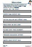 #Saetze #ordnen 1. Klasse #Englisch Arbeitsanweisungen sind in den Lösungen in Englisch übersetzt. #Arbeitsblaetter / Übungen / Aufgaben für den #Rechtschreib- und Deutschunterricht - Grundschule.  Es handelt sich um 70 Sätze, die auf 10 Arbeitsblätter verteilt sind. Die folgenden Wörter sind zu Sätzen zu ordnen und in der richtigen Reihenfolge aufzuschreiben.