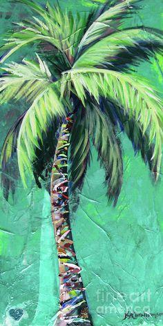 Aqua Palm Tree Art Print by Kristen Abrahamson for your coastal decor. Aqua Palm Tree A Palm Tree Art, Tree Wall Art, Palm Trees, Palm Tree Paintings, Canvas Paintings, Plage Art Mural, Art Plage, Art Tropical, Tropical Artwork
