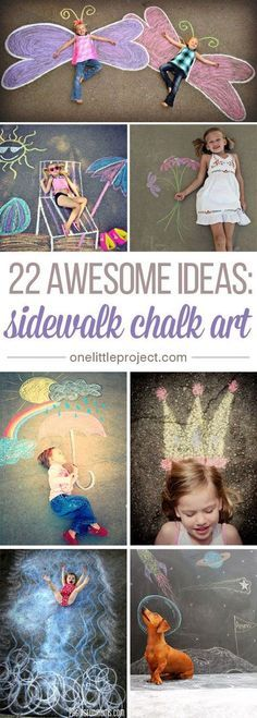 These sidewalk chalk ideas are SO AWESOME! Seriously, some people so creative!? There are so many fun ideas and so many great photo opportunities!