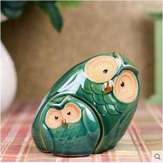 Parentales búho de cerámica verde figurines búho decoración del hogar trimestre artesanías de decoración de cerámica animales artesanías Figuras de porcelana (China (continental))
