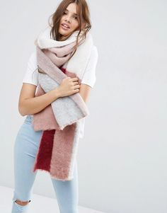 Image 1 of ASOS Oversized Fluffy Scarf In Colourblock