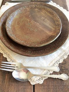 Rustic Dinnerware Plate Set Hand Stenciled Mandala & Rustic Dinnerware Plate and Bowl Set ~ Birch Brown ~ Buck Deer ...