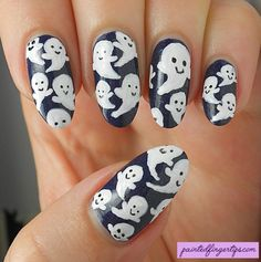 #31DC2016 Day 29: Cute Ghosts for Inspired by the Supernatural - Painted Fingertips