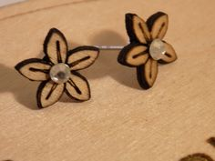 Wooden Flower earring with diamante centre by SOHalkirk on Etsy