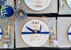 Decoración de mesa - Boda rustica en la playa - Anaya+Javier - Table decoration - Beach Rustic Wedding Handmade Moments  Colores: Azul y arena