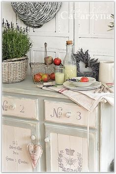 Shabby Chic Kitchen...love the cabinets!