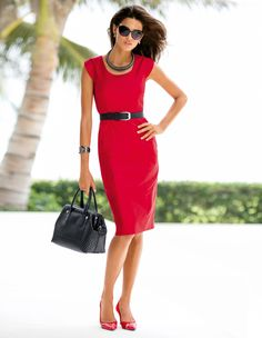 MADELEINE Dress – Made of shimmering cotton satin. Beautiful for VD dinner plans. #MADELEINEfashion #Valentinesday #red
