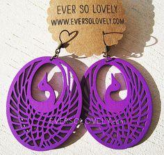 Dark Purple Phoenix Bird Earrings
