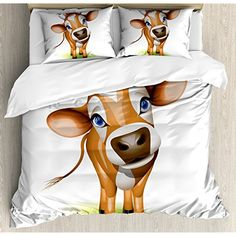 Baby Duvet Cover Set Digitally Composed Cow with Beautiful Captivating Eyes Livestock Theme Bedding Set with 2 Pillow Shams Comfortable 4 Pieces Sets Zipper Closure Cinnamon Royal Blue Green, King Nursery Bedding Sets Girl, Duvet Bedding Sets, Comforter Cover, Bed Duvet Covers, Duvet Cover Sets, Pillow Shams, Pillow Cases, Baby Duvet, Orange Duvet Covers
