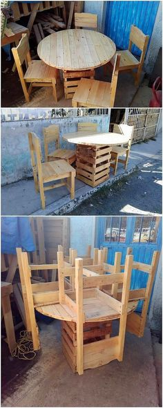 14 Unique Professional Chair Projects For Your Next Project Want To See More? Visit Us For More Wooden Chair Ideas Wooden Chair Plans, Wooden Pallet Table, Chair Design Wooden, Wooden Pallet Furniture, Recycled Furniture, Wooden Pallets, Furniture Projects, Outdoor Furniture Sets, Diy Projects