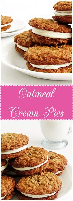 Homemade Oatmeal Cream Pies-Sweet, fluffy, vanilla buttercream sandwiched between two thick and chewy oatmeal cookies. So EASY and better than store bought!