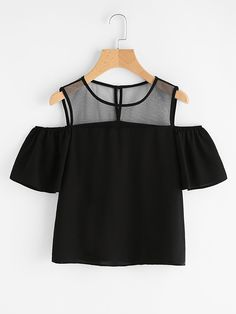 Store Open Shoulder Mesh Panel Prime on-line. SheIn presents Open Shoulder Mesh Panel Prime & extra to suit your trendy wants. Girls Fashion Clothes, Teen Fashion Outfits, Mode Outfits, Girl Fashion, Girl Outfits, Fashion Dresses, Fashion Black, Fashion Ideas, Crop Top Outfits