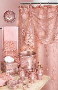 Mauve bathroom accessories.
