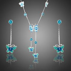 Get Discount AZORA Elegant Stellux Austrian Crystal Butterfly Oil Painting Pattern Drop Earrings and Pendant Necklace Jewelry Set Cute Jewelry, Jewelry Sets, Jewelry Necklaces, Women Jewelry, Rhinestone Jewelry, Jewlery, Silver Jewelry, Butterfly Jewelry, Butterfly Necklace