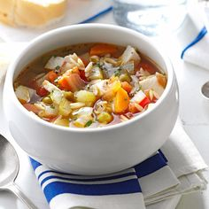 Skinny Turkey-Vegetable Soup Recipe- Recipes The blend of flavors and colors in this hearty soup will bring everyone at the table back for more. —Charlotte Welch, Utica, New York Turkey Vegetable Soup, Turkey Soup, Vegetable Soup Recipes, Healthy Soup Recipes, Chili Recipes, Turkey Recipes, Cooking Recipes, Diabetic Recipes, Fall Recipes