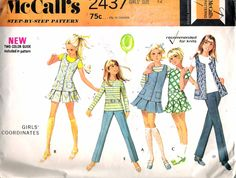"""Vintage 1970 McCall's 2437 Girl's Coordinates Sewing Pattern Size 12 Breast 30"""" by Recycledelic1 on Etsy"""
