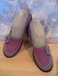 Купить Хлопковые туфельки - комбинированный, вязаные балетки, обувь ручной работы, вязаная обувь