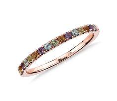 Multi-Gemstone Pavé Ring in 14k Rose Gold (1.5mm) ($235)