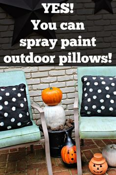 Have your outdoor pillows seen better days? Don't toss them... YES! You can spray paint outdoor pillows!!